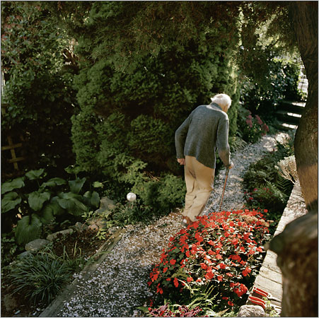 Stanley Kunitz in his garden